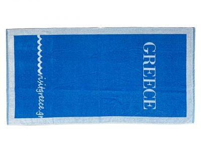Πετσέτα πισίνας θαλάσσης δίχρωμη με ενδοϋφασμένο λογότυπο TerryTex