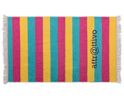 Πετσέτα παρεό τρίχρωμη με ενδοϋφασμένο λογότυπο TerryTex